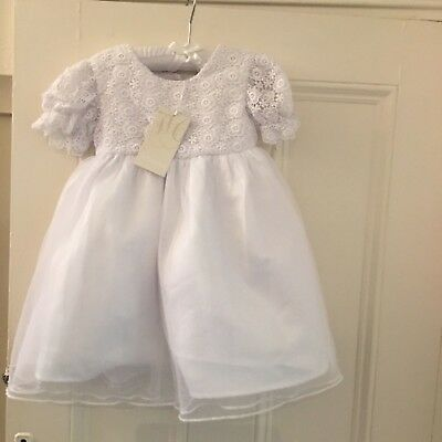 Lacy white baby dress.Christening,flower girl,occasion,party.12-18 months.