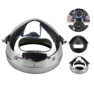 "Motorcycle 5.75 5 3/4"" LED Head Light Silver stainless steel Outer Cover Housing"