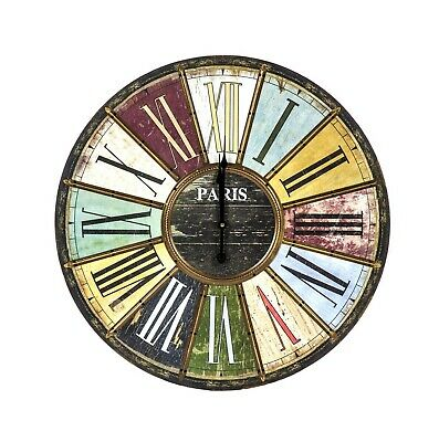Paris Colourful Wall Clock Roman Numerals Antique Wood Effect Home/Office Decor