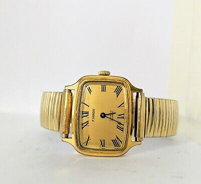 Gents Vintage F Hinds Gold Plated 17 Jewels Wind Up Watch - Working