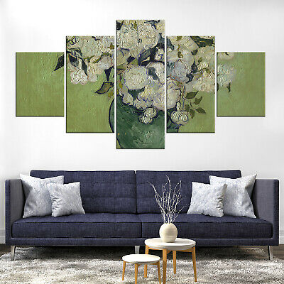 Vincent Van Gogh Vase of Roses Canvas Print Painting Framed Home Decor Wall Art