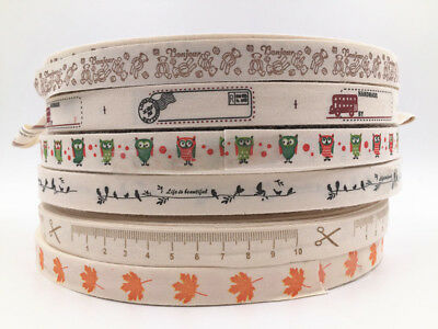 5-10yd Printed Cotton Ribbon 15mm Handmade Gift Present Package DIY Sewing Craft