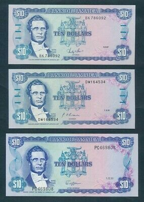 "Jamaica: 1981-91 $10 George Gordon ""LOT OF 3 DIFFERENT"". Pick 67b, 71b & 71d UNC"