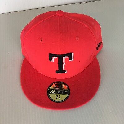 low priced 56d17 8833c Texas Rangers MLB New Era 59 Fifty Cap Adult 7 3 8 Fitted Polyester Orange