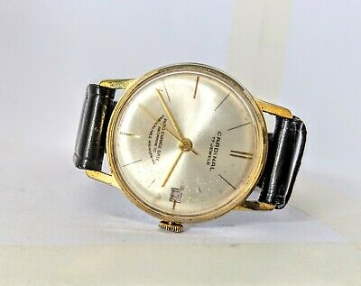 Vintage Cardinal 17 Jewels Gold Plated Wind Up Watch - Working