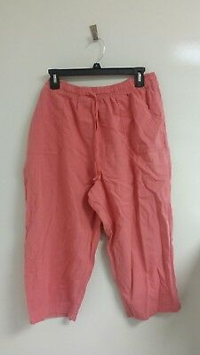 Basic Editions Womens Pull On Capri Pink Size L Made in Turkey - I003