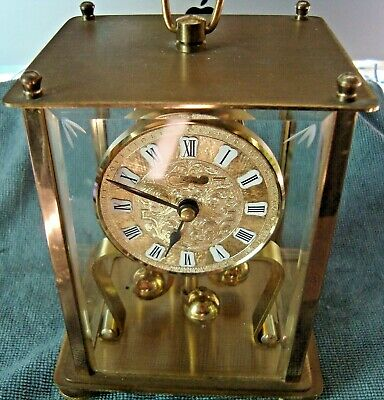 Vintage Kain German Torsion  4 Brass Balls Lantern Good  Working Mantel Clock