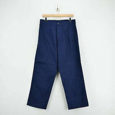 Vintage Deadstock Blue French Style Work Utility Trousers Italy Made 30 W 28 L