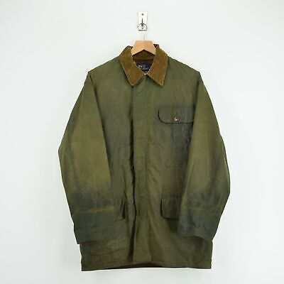 Vintage 80s Ralph Lauren Polo Green Wax Jacket Hunting Coat Made in USA M / L