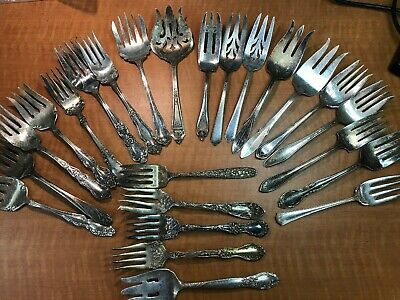 24  Pc Mixed Antique to Vintage Silverplated SERVING MEAT FORKS Craft or USE