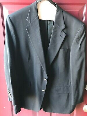 Men's Lands' End 2 Button Navy Blue Blazer Sports Coat Size 44 Regular