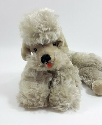 "Vintage Steiff SNOBBY Mohair Poodle Dog Laying Down Ear Button 14"" Schnauzer"