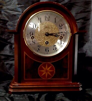 Hemle Westminster Chime 8 Day Mantel Clock, Mahogany Cased Jewelled,