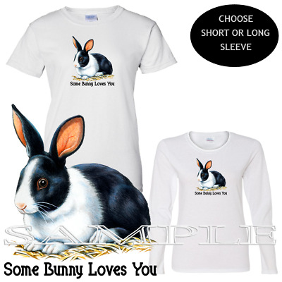 Rabbit Black & White Cute Some Bunny Loves You Graphic Ladies Custom T Shirt