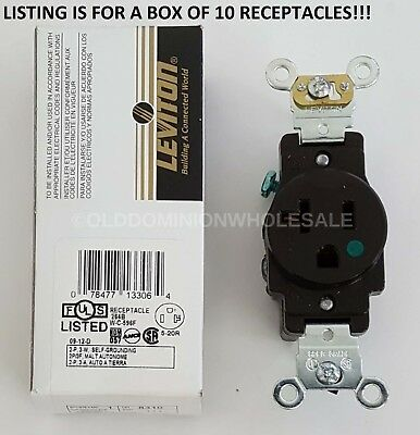 10-pack Leviton 8310 Hospital Grade 5-20R 20A 125V Brown Single Receptacle