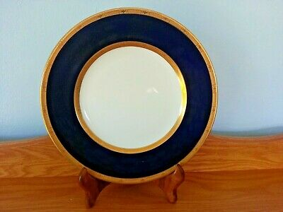 """Rare Royal Worcester Cobalt Blue And Gold Made For Macy Co.10.5"""" Dinner Plate."""