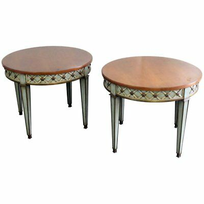 Rare Pair Trouvailles French Louis XVI Regency Style Paint Decorated Side Tables