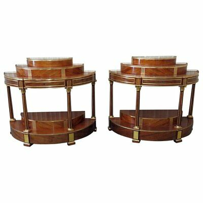 Rare Pair of Russian Mahogany & Bronze Regency Demilune Console Commodes Tables