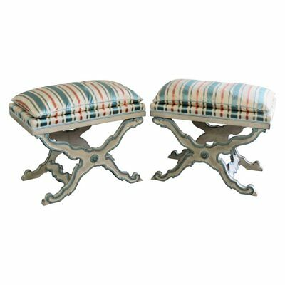 Pair Gustavian Paint Decorated Swedish X Form Benches Footstools Stools UNIQUE
