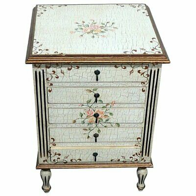 Crackle Painted French Louis XVI Style Paint Decorated Night Table Night Stand