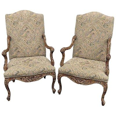 Pair of French Louis XV White Washed Painted Louis XV Style Tapestry Armchairs