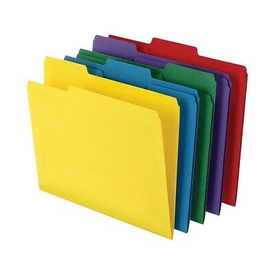 Staples Colored Top-Tab File Folders 3 Tab 5 Color Asst Letter Size 100/PK