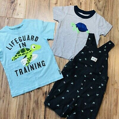 Lot Of 3 Carter's Size 3T 2T Toddler Boys T-Shirts Overalls Turtle Blue SeA Life