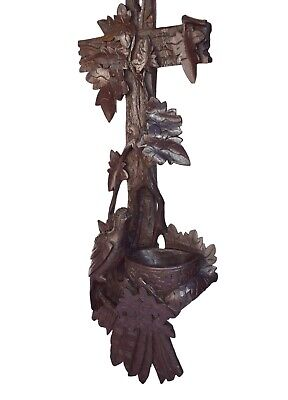 Large Black Forest Carved Wood Wall Holy Water Font with Bird Nest Carving