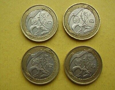 2002 Commonwealth Games 4 x £2 coins, England, N. Ireland, Scotland and Wales