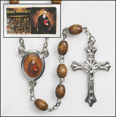 Saint Benedict St Centerpiece Wooden Oval Beads Religious Christian Rosary