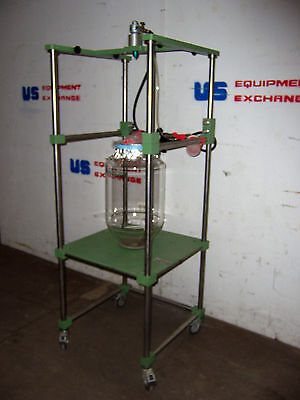 9646 Chemglass Double Wall 25 Liter? Reactor W/ Air Motor  On Support Stand