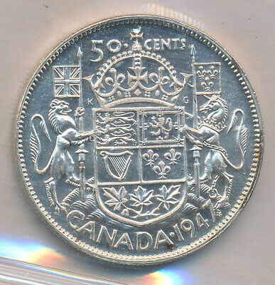 Canada 50 Cents 1947 Maple Leaf Dk 240 - Iccs Ms-63