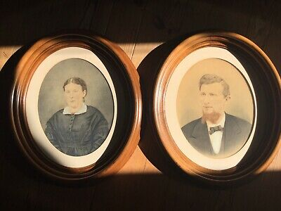 Antique Pair Of Gouache Pastel Portraits In Deep Dish Oval Walnut Picture Frames