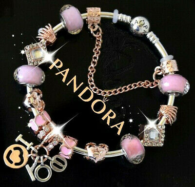 "Authentic Pandora Bracelet Silver Rose Gold ""I LOVE YOU"" with European Charms"