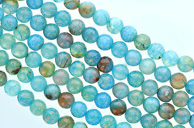 1 Strand Round FACETED Turquoise Ocean Blue AGATE Beads, 10mm Gemstones gag0042