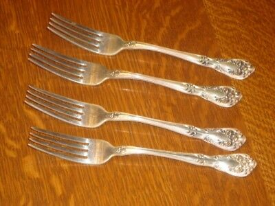 "Four 4 Alvin Sterling Silver Chateau Rose Luncheon Forks 7 1/4"" No Monogram"