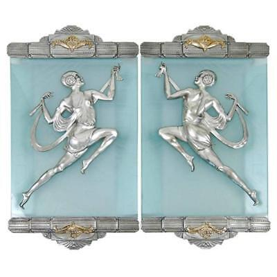 Art Deco Style Flapper Bronze Sconce Pair in the Manner of Affortunato Gory