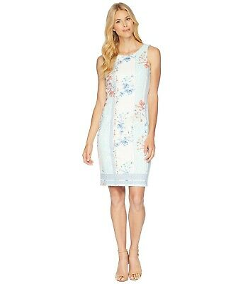 89cbc129 Ivanka Trump NWT Modern WHITE MULTI flora/mosaic print Scuba Dress 10,14,