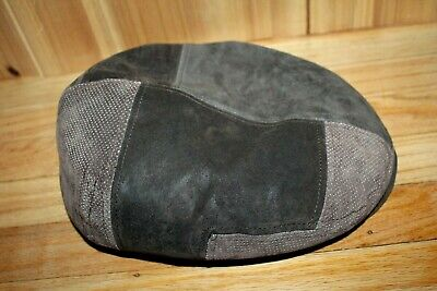 03fa6376e84 STETSON LEATHER SUEDE Brown Patchwork Newsboy Cap Hat Men L EUC