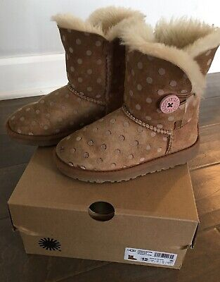 90c5c23c1 Ugg T Bailey Button Pink Polka Dot Boots Youth Toddler Girls Kids Size 12