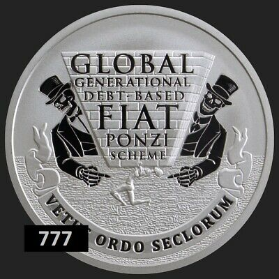 2019 1oz GLOBAL PONZI  #22 DOD  .999 Ag Proof ROUND SILVER SHIELD GROUP  777