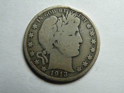 1913 Barber Half Dollar - Good+ Condition