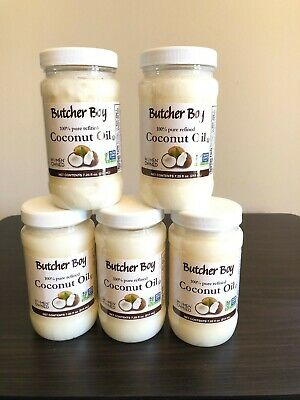 (5) BUTCHER BOY 100% PURE REFINED COCONUT OIL NON GMO 7.25 Oz