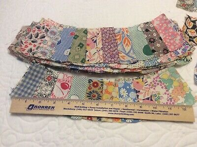 Large Lot Of 26 Vintage Feed Sack & Cotton Double Wedding Ring Quilt Blocks/Top