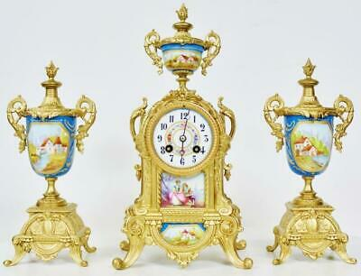 Antique French Gilt Metal & Blue Sevres Porcelain 8Day Striking Mantle Clock Set