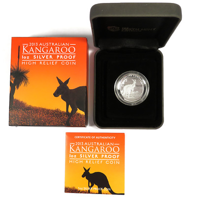2013-P $1 Australia Silver 1 oz Kangaroo Proof High Relief with OGP & COA