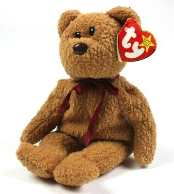 a0277ff01c5 Ty Beanie Babies Original Retired Curly The Bear Red Ribbon 1993 Beanie Baby