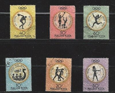 """Hungry, lot of 6 old used """" 17th olympics"""" stamps, see scan"""
