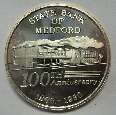 1990 State Bank of Medford Oregon One 1 oz .999 Pure Silver Round Very Scarce