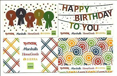Lot of 4 Marshalls Homegoods TJ Maxx Gift Cards No $ Value Collectible Birthday